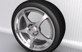 大型铝合金钢圈SUV城市越野车轮毂汽车快修店铺宣传C4D模型