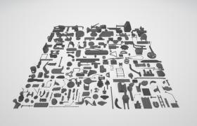 工业五金不锈钢散装机械装配易损零部件3D模型陈列展示