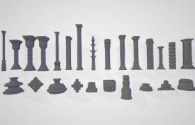 古罗马建筑风格大型宫殿石柱雕塑建筑3D模型(支持obj,max,fpx)