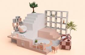 室内客厅楼梯转角可爱粉色系家居局部造型场景c4d模型展示(含贴图)