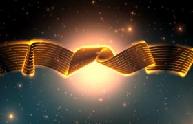 幻光金属绸带飘柔粒子星空背景MP4特效视频素材