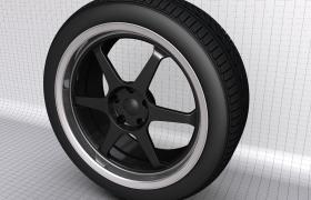 汽車維修改裝店鋪產品宣傳高密度黑色碳釬維輪轂C4D模型