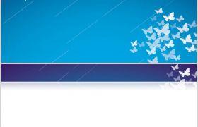 蓝色背景白色蝴蝶视觉效果唯美浪漫PPT背景图片素材