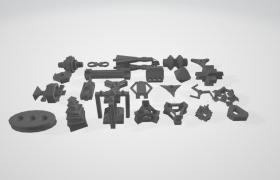 24個科幻機械工程設備高精度工業零部件模型(支持obj,max,fpx)