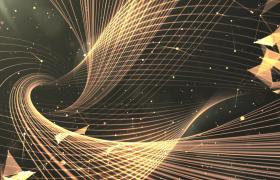 金色幻光扭曲光线柔美运动几何星空呈现HD特效视频素材