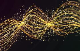 柔美金色光线螺纹状运动粒子浪漫洋溢HD特效视频素材
