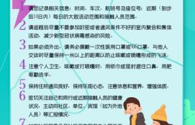 綠色背景卡通可愛圖案設計返程人員健康防護指引PS宣傳海報
