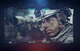网格线条图文展示军事地图HUD故障全息科技效果AE模板