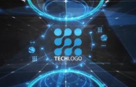 三维空间LOGO演绎高科技全息HUD螺旋中心揭示AE模板