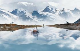 美丽雪山梦幻景色展示仙鹤船舶特效片头会声会影模板参考