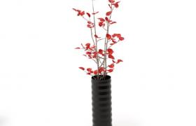 唯美的红色樱桃花瓣现代插花艺术品室内摆件C4D模型