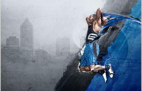 蓝黑色调大气城市极限运动PPT背景图片素材