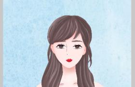 浅蓝梦幻背景卡通漂亮女神装饰38妇女节海报背景素材