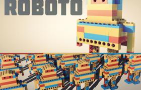 卡通动画机器人乐高创意性拼接玩具C4D模型展示