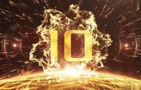 震撼黄金企业年会片头10秒倒计时水墨风格AE模板