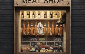 食物依次陳列meat shop創意性櫥窗店鋪宣傳家居C4D模型