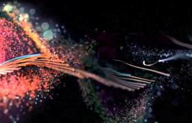 炫彩水粉光线华丽输出MP4特效视频素材