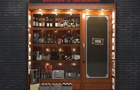 空酒瓶裝飾柜布局設計復古酒吧門店街景Cinema4D場景模型