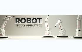 全智能一体化生产流水线作业电控机器人机械手操纵臂C4D模型