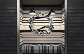 黑白背景镶嵌设计创意性室内橱窗精美装饰C4D场景模型