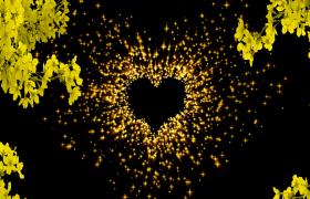 橙色金黄粒子心形婚礼舞台led背景视频素材