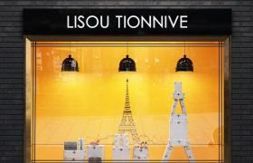 時尚女性穿搭唯美背景設計透明玻璃落地窗C4D店鋪裝飾擺件模型