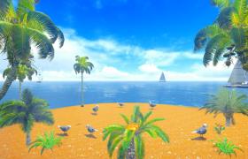 大海椰树船MG动画视觉效果舞台led背景视频素材