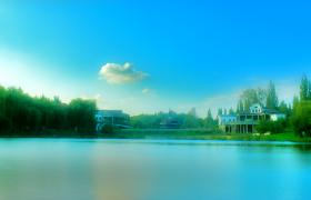 春意盎然湖光山色唯美春日风景高清实拍视频素材