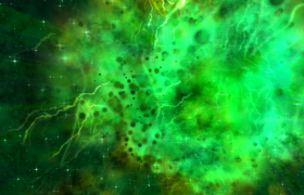 绿色飘带梦幻光效唯美三维动态视觉大气舞台背景视频素材