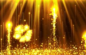 金色粒子华丽上升粒子烟花绚丽绽放MP4特效视频素材