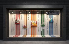 時尚大氣的精美超市食物Shop Food櫥窗街景C4D模型