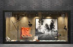高雅藝術布局效果店鋪宣傳設計精品家居展示雅致櫥窗c4d模型