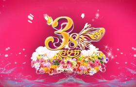 彩色蝴蝶瞬间飞散LOGO标题唯美定格旋转3.8妇女节视频素材