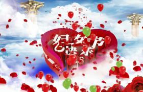 梦幻云端花瓣气球动态演绎3D标题设计38妇女节特效视频素材