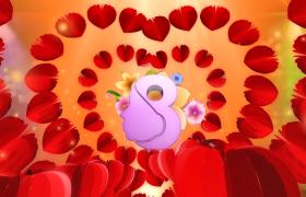 爱心花瓣动态演绎3D金色标题显示与美丽同行妇女节特效视频