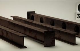6种型号的建筑横梁铁制冶金工业材料设备C4D模型素材下载