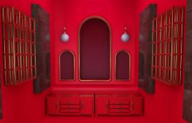 红色帷幕背光效果渲染电商促销展示活动C4D场景模型下载