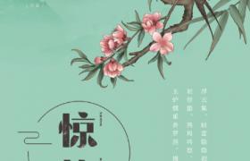 彩繪燕子花枝停歇水墨藝術風設計驚蟄節氣PS宣傳海報