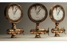 现代工厂生产设备水压检测产品水泵压力表C4D模型