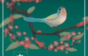 花香鸟语艺术彩绘插图春分节气PSD宣传海报