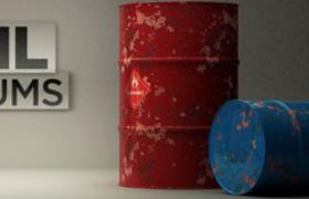 208升美孚机械齿轮油废弃油桶C4D工业生产设备模型
