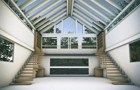 超大廣角視野設計室內景觀房Cinema4d模型(含材質貼圖)