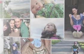 格子兒童成長記錄情感家庭拼接翻轉照片墻AE模板