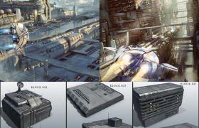 20款科幻外太空機械建筑C4D模型lib4d格式預設(含貼圖)