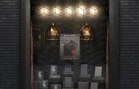 暗黑系色调BOOK SALE图书销售创意性宣传展示橱窗街景C4D模型