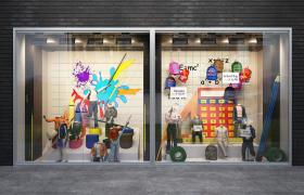 卡通创意性橱窗布局装饰儿童服饰摆件C4D街景建筑模型