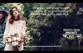浪漫图文婚礼婚庆幻灯片滑屏漏光效果AE模板