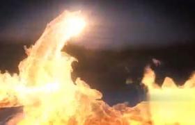 10秒气势汹汹冲击火焰飞舞LOGO标志展示AE模板