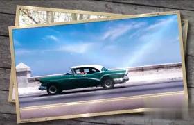 優雅木板心底記憶旅游照片堆疊切換展示AE模板