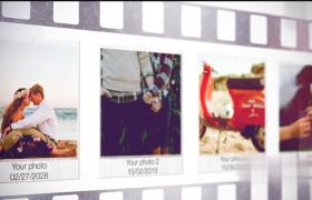 干净简约浪漫幸福婚礼浪漫照片幻灯片暖光效果AE模板
